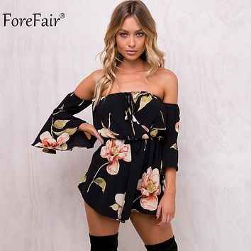 Womens Floral Print Elastic Waist Short Chiffon Jumpsuit Flare Sleeve Boot Cut Sexy Strapless Romper