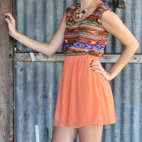 Mayan Sun Orange Tribal Dress