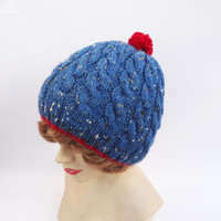 Cabled Ski Cap, Blue and Red Hat, Pom pom Hat, Unisex Ski Hat, UK Seller