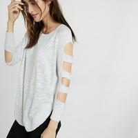 Cut-out Shoulder Tunic Sweater