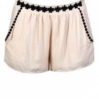 Lily Boutique Beige and Black Shorts, Cute Beige Shorts, Beige Embroidered Shorts, Black and Beige Embroidered Shorts, Row of Blossoms Embroidered Trim Black and Beige Shorts Lily Boutique