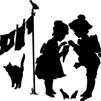 victorian children clip art laundry VINTAGE SILHOUETTE - Printable Digital download Image fabric, paper, Iron On totes t-shirts pillows