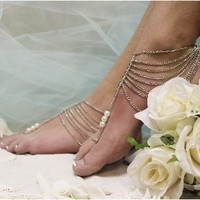 BF16 Grecian Goddess Silver barefoot sandals-foot jewelry-barefoot sandals, wedding shoes, anklets for women,barefoot sandal, footless sandles, beach wedding sandal, slave sandals, bridal barefoot sandals, wedding barefoot sandals,foot jewelry, pearl bare
