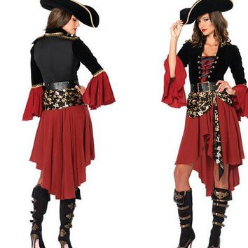 cosplay party pirates of the Caribbean clothes red women sexy uniform adult carnival halloween costume dress&hat&belt hot sell