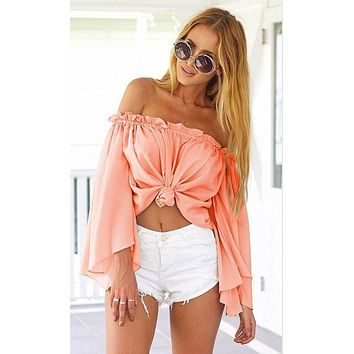 Summer Women Solid Color Off Shoulder Long Sleeve Pagoda Sleeve Knotted Chiffon Shirt Crop Tops