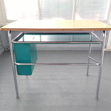 Vintage, Desk, Metal Desk, Chrome, Adult or School Age Childs Desk, RhymeswithDaughter