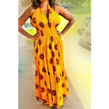 Yellow African Print Dress
