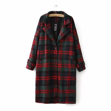 Autumn Winter Wool Coat Women Classic Blends Red Green Plaid Long Jacket Coat Female Raincoat Outerwear Windbreaker Trench Coats