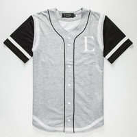 Civil Running Stitch Mens Baseball Jersey Black/Grey  In Sizes