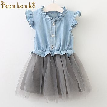 Girls Dresses New Summer Fashion Princess Cowboy Stitching Net Yarn Sleeveless Girls Dresses Clothing