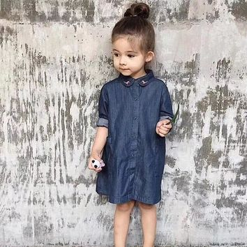 2018 spring summer baby girl clothes girls jeans dress deer pattern family matching clothes mother and daughter dresses for girl
