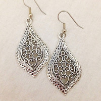 Silver lace teardrop gypsy dangle chandelier earrings