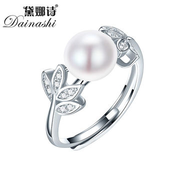 Dainashi Natural Pearl Rings Women's Fashion Rings 925 Silver Adjustable Rings Engagement&Bridal Freshwater Pearl Rings On Sale