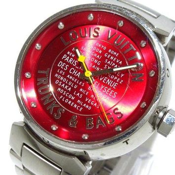 Auth LOUIS VUITTON Tambour TRUNKS & BAGS Q131A Red SA7428 Women's Wrist Watch