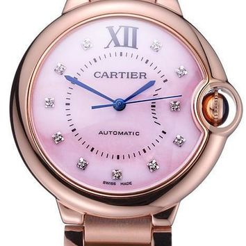 Swiss Cartier Ballon Bleu de Cartier Pink Diamond Dial Gold Bracelet 622556