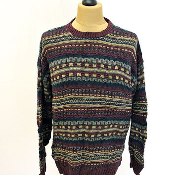 Vintage 90s Roundtree and Yorke Pattern Shaker Knit Jumper Sweater Large