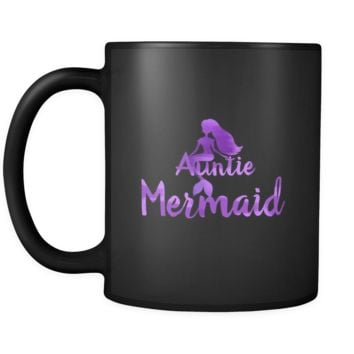 Auntie Mermaid Awesome Family Love My Auntie Black 11oz Mug