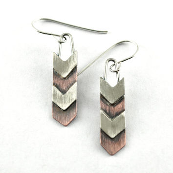 Chevron Earrings in Sterling Silver and Copper, Handmade Mixed Metal Jewelry, Metalsmith Earrings