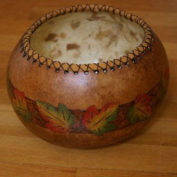 Rustic Gourd Bowl, Nature Inspired, Maple Leaf Gourd Bread Bowl, Autumn Decor