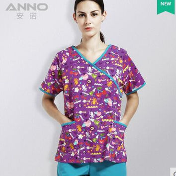Unisex medical doctor nurse uniform short sleeve cotton working split medical scrubs set surgical operation overalls Anno 489