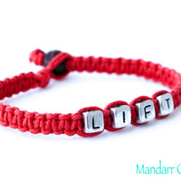 Red Lift Bracelet, Weight Lifting Jewelry, Fitness Motivation, Weight Loss Goals, Achievement Gift
