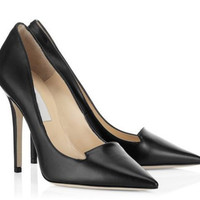 Fashion Brand Black Solid Simple Heel Shoe Leather Office Ladies Pumps Slip-On Shoes Women Stiletto Heels Pointed Toe Shoes
