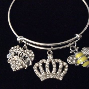Mom Queen Bee Crown Crystal Adjustable Bracelet Silver Expandable Charm Bangle Trendy One Size Fits All Gift