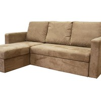 Baxton Studio Linden Tan Microfiber Convertible Sectional Sofa Bed Set of