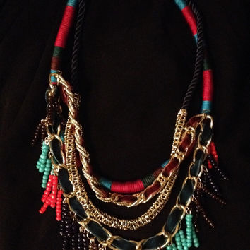 Ethnic Tribal layered rope necklace