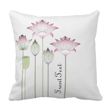 Elegant Chic Pink Lotus Floral Personalized Throw Pillow