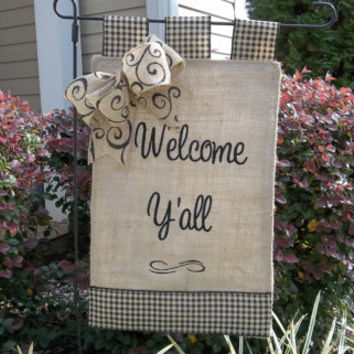 "Welcome Y'all Burlap Garden Flag  11"" x 17""  , house warming gift, wedding gift, yard decoration, garden flag, southern welcome"