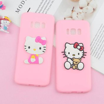 Lovely Hello Kitty Cat Case for Samsung Galaxy S9 Plus S8 S7 Edge S6 S3 S4 Soft Cartoon Phone Cover for Galaxy Note 3 4 5 8 9