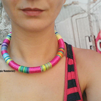 Tribal Choker African Necklace Colorful Necklace Massai Necklace Thread Choker Rope Choker Ethnic Necklace