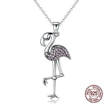 925 Sterling Silver Flamingo Bird Pendant Necklace