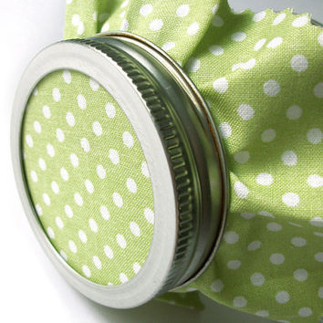 12 Green Polka Dot Jam Covers, Cloth Toppers, fabric for mason jars, food preservation, wedding favors
