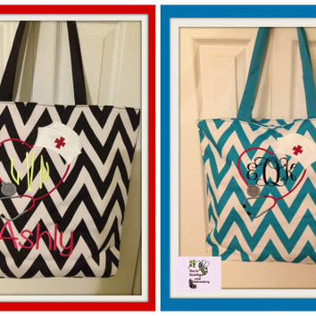 Personalized Nurse Chevron Tote Bag Perfect Every Day