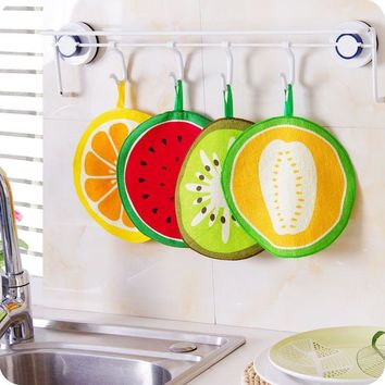 Cute Fruit Style Kids Children Hand Towel Soft Fabric Kitchen Cleaning Cloth Rag Home Hanging Bathroom Wipe Towel