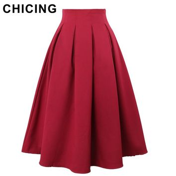 CHICING High Street Women Pleated Skirts 2017 Summer Vintage High Waist Knee Length Office Workwear Flared Tutu Saias A150114