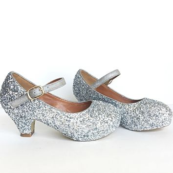 Silver Glitter Girls Heels, Flower Girl Shoes