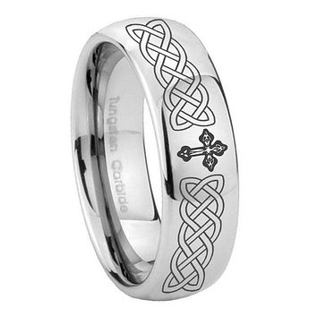 8MM Classic Mirror Dome Celtic Cross Tungsten Carbide Silver Engraved Ring