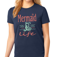 Navy Mermaid Life Crewneck Tee