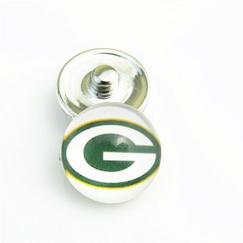 20pcs/lot Sports Green Bay Packers 18mm Glass Snap Buttons fit 18mm Snap Button Bracelet Necklace Jewelry