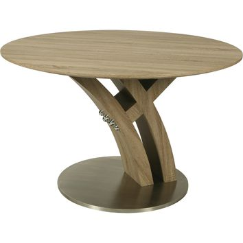 Quanto Basta Dining Table Stainless Steel & Sonoma Veneer & Wood Top