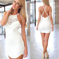 Womens Sexy Backless Floral Lace Summer Beach Bodycon Mini Party Dress = 5657682369
