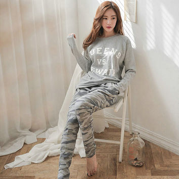 2017 Spring Autumn Winter Womens Pajama Sets O-Neck Long Sleeve Women Sleepwear Pajamas Girls Woman Pyjama Femme Plus Size