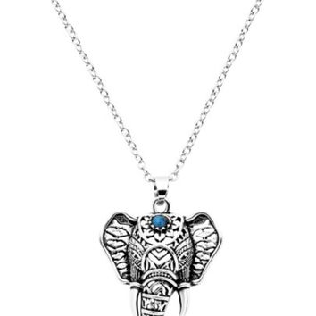 Vintage Silver Turquoise Elephant Necklace