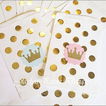 Princess Party Bag Pink And Gold Glitter Crown Polka Dots Gi