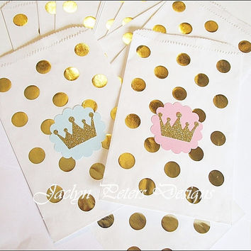 Princess Party Bag, Pink And Gold, Glitter Crown, Polka Dots, Girls First Birthday, Baby Shower Favors, Candy Bag, Treat Holder, Set Of 12