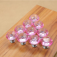 Free shipping 25mm Diamond Crystal Cupboard Cabinet Dresser Drawer Wardrobe Door Knob Pull Handle home decor