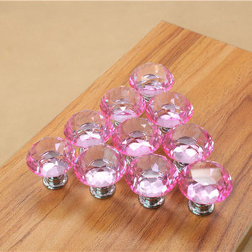 25mm Diamond Crystal Cupboard Cabinet Dresser Drawer Wardrobe Door Knob Pull Handle Furniture Accessories